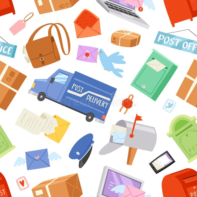 Почтальон вектора почтового отделения поставляет почты в postbox или характер почтового ящика и столба носит пересланные письма в бесплатная иллюстрация