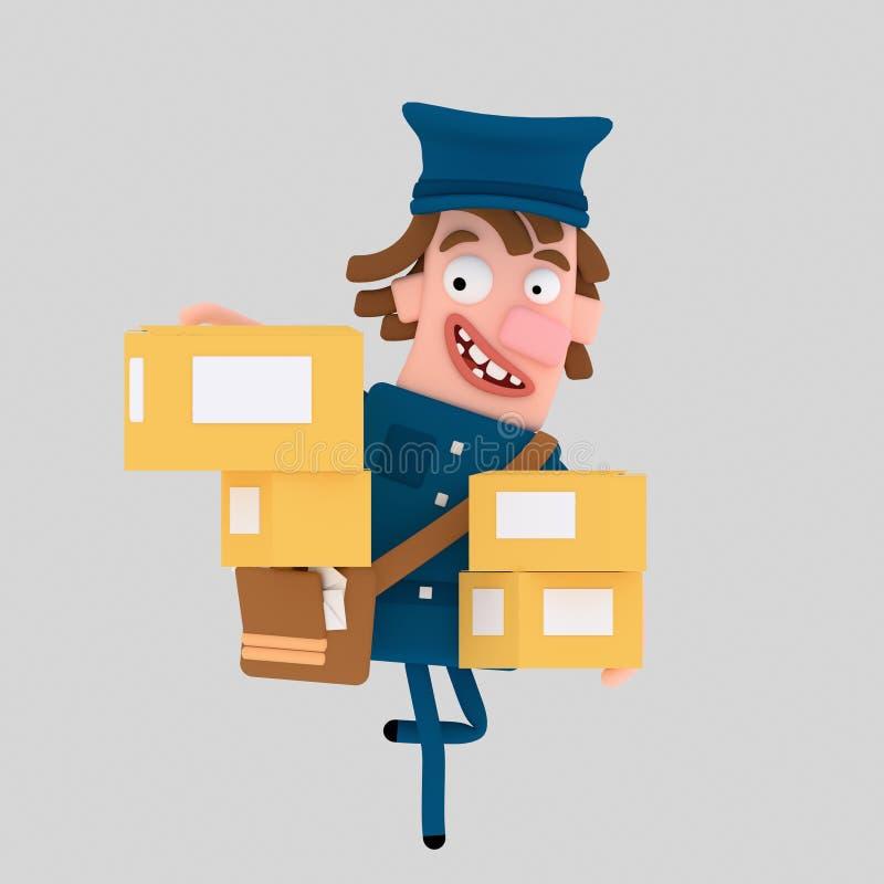 Почтальон держа много коробок пакета 3d иллюстрация вектора