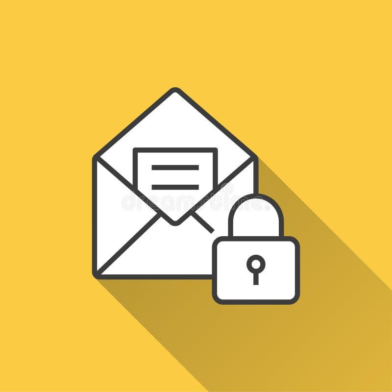 Почта безопасностью - значок вектора для графика и веб-дизайна бесплатная иллюстрация