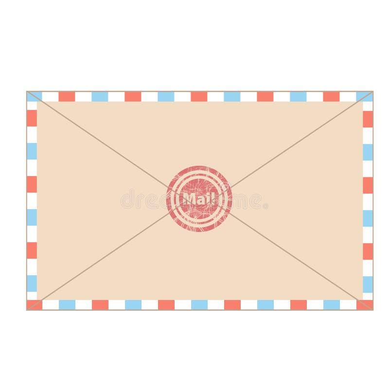 Почта конверта в стиле мультфильма для дизайна на белом, иллюстрации вектора запаса бесплатная иллюстрация