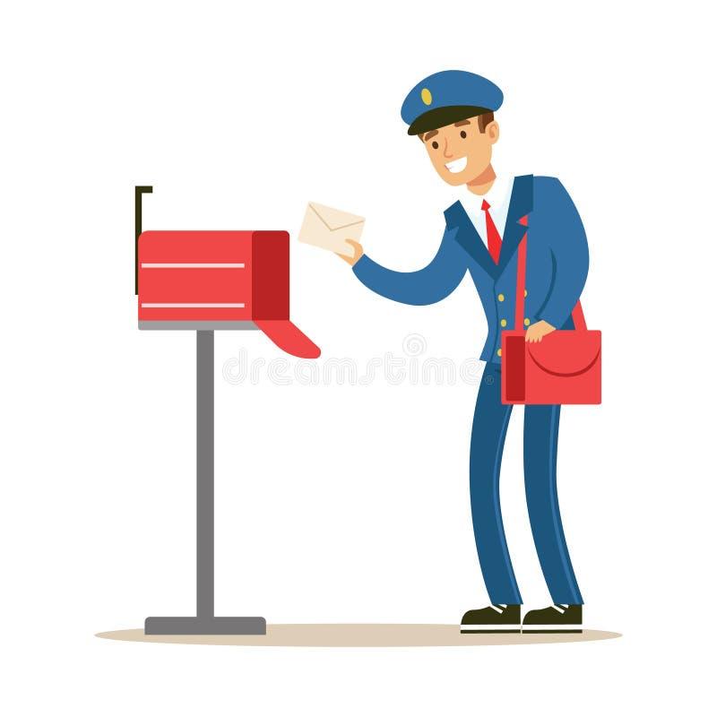 Почтальон в голубой равномерной поставляя почте, кладущ письма в почтовый ящик, выполняя обязанности почтальона с улыбкой иллюстрация вектора