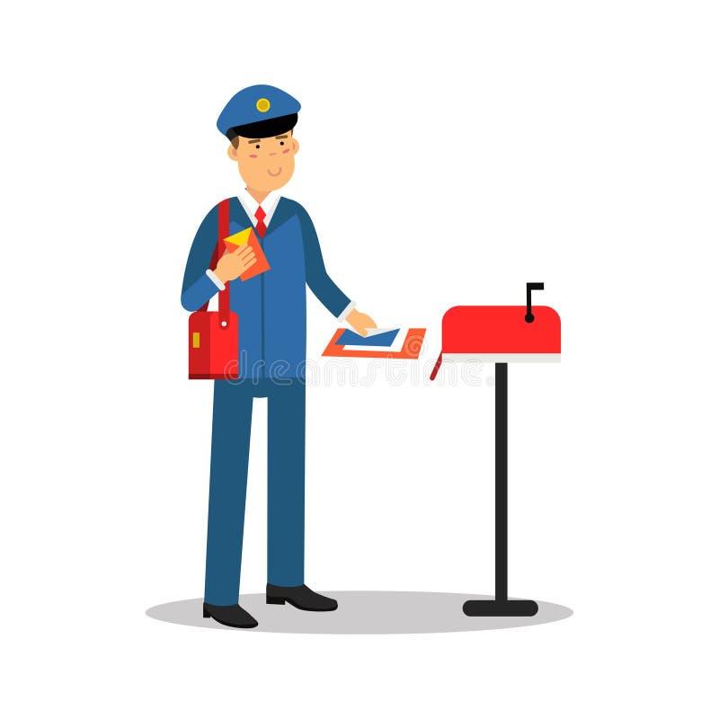 Почтальон в голубой форме кладя письма в почтовый ящик, иллюстрацию вектора персонажа из мультфильма иллюстрация штока