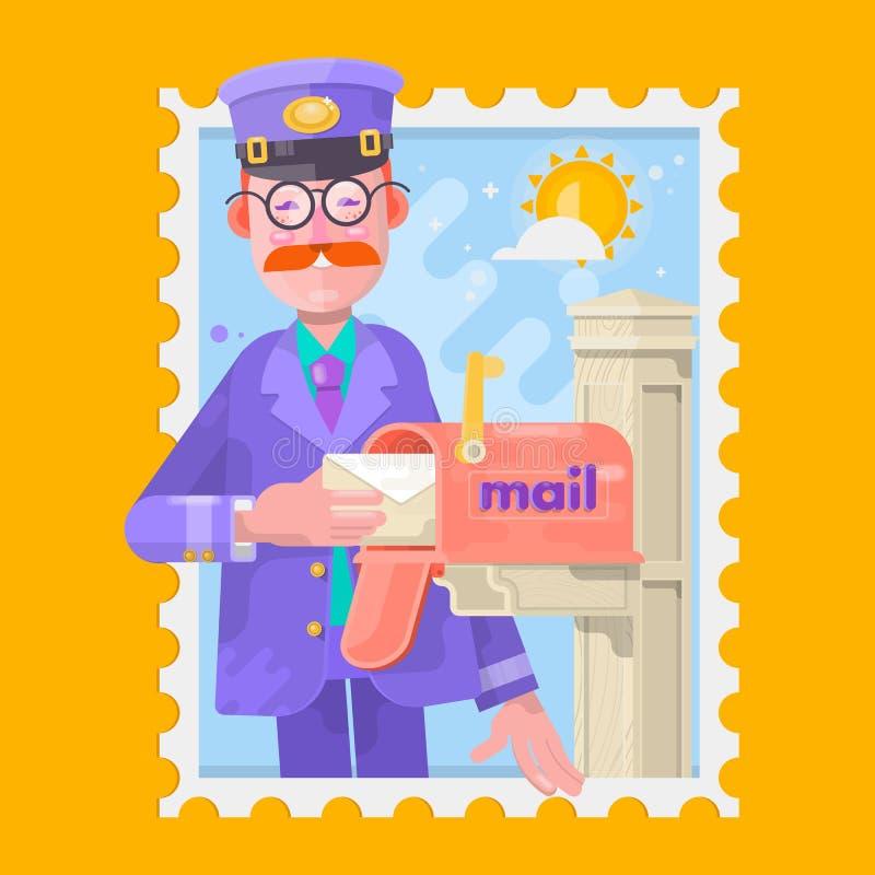 Почтальон в фиолетовой равномерной поставляя почте, кладя письма в почтовый ящик Плоская иллюстрация вектора иллюстрация штока