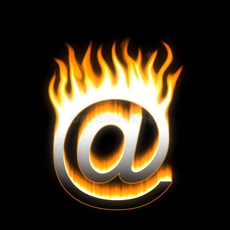 почта e пламенеющая иллюстрация штока