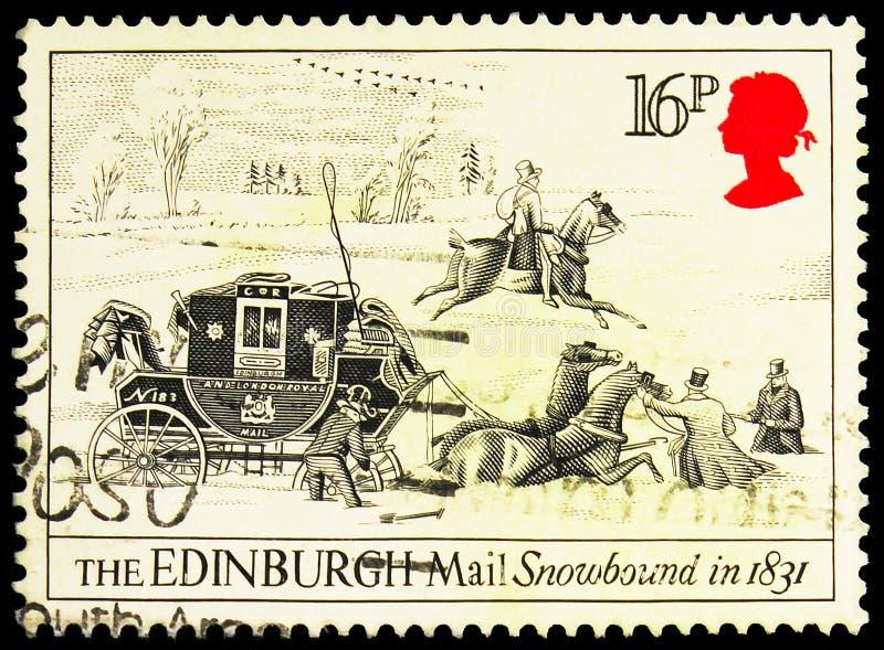 Почтовая марка, напечатанная в Великобритании, показывает Edinburgh Mail Snowbound, 1831, Postal service Bath-London serie, около стоковые изображения