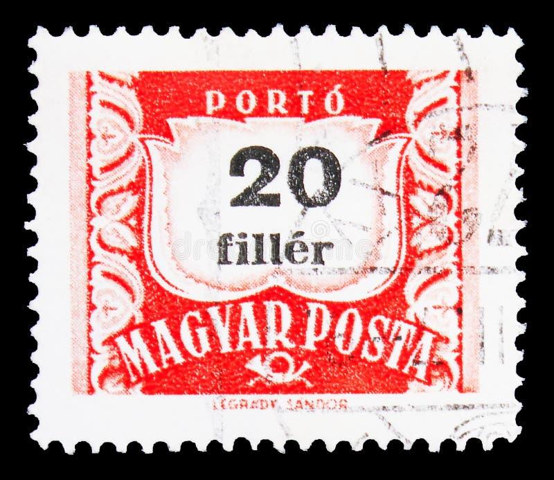 Почтовая марка, напечатанная в Венгрии, показывает Postage Due 20 filler, Numbers serie, около 1965 стоковое фото rf