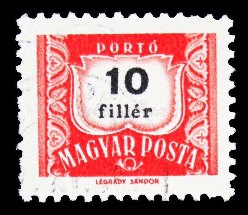 Почтовая марка, напечатанная в Венгрии, показывает Postage Due, Numbers serie, около 1965 стоковое изображение
