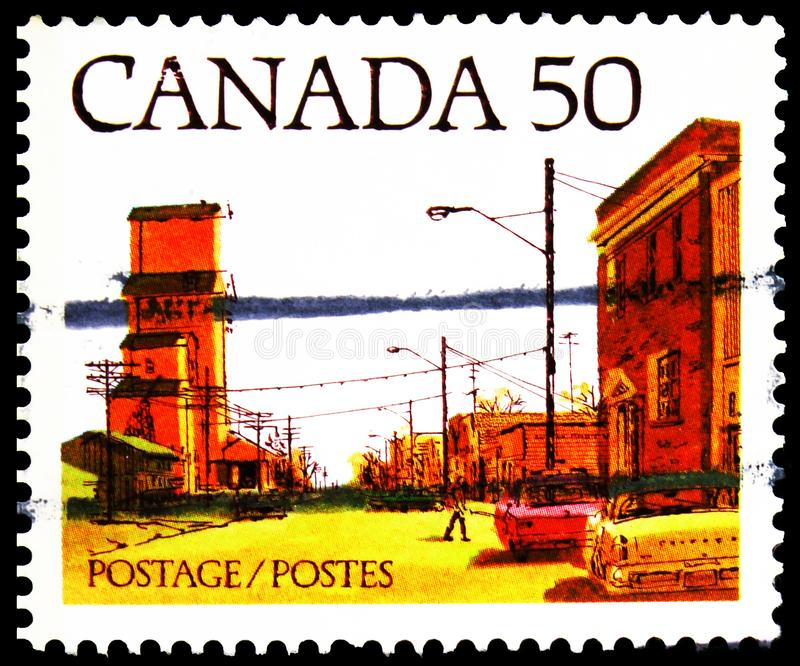 Почтовая марка, напечатанная в Канаде, показывает Prairie Town Main Street, Definitives 1978-82 City Streets serie, около 1978 стоковые фото