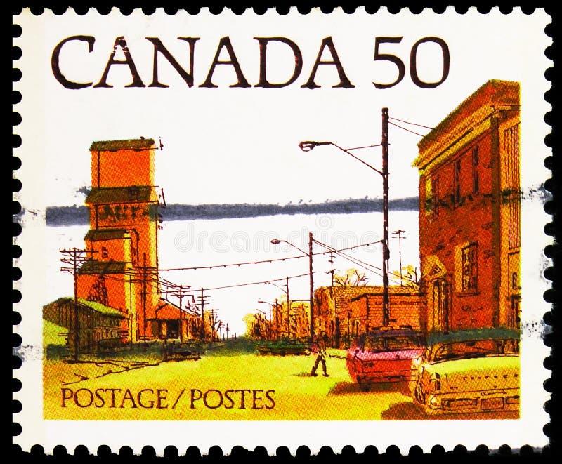 Почтовая марка, напечатанная в Канаде, показывает Prairie Town Main Street, Definitives 1978-82 (City Streets) сери, примерно 197 стоковые изображения