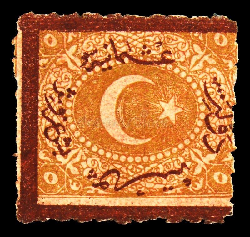 Почтовая марка, напечатанная в Турции, показывает Overprint on Полумесяц и звезда, 1869 Duloz Type III Postage Dues Border Red Br стоковое фото rf
