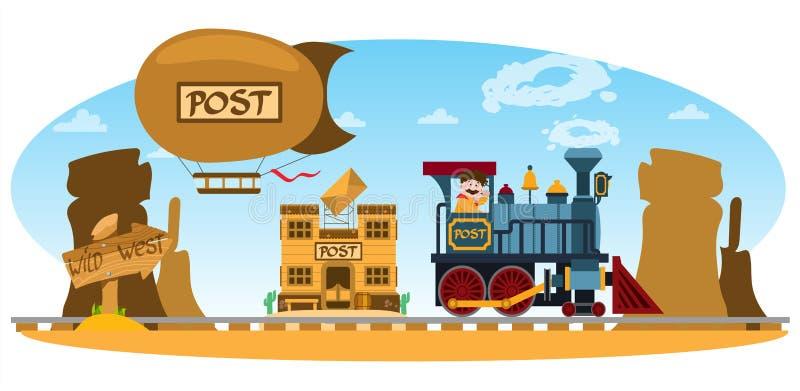 Почтовое отделение Дикого Запада, винтажный поезд, гора, воздушный шар Предпосылка игры бесплатная иллюстрация