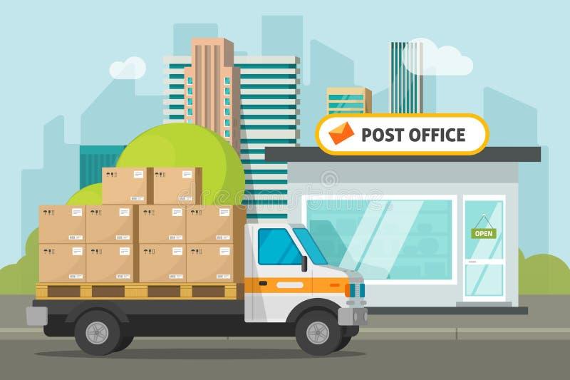 Почтовое отделение на улице города и тележке груза нагрузило иллюстрацию вектора коробок пакета, плоское хранение почтового отдел иллюстрация вектора