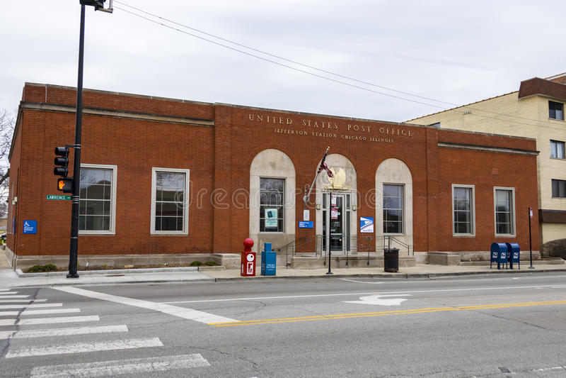 Почтовое отделение Соединенных Штатов в парке Jefferson, Чикаго, IL стоковое изображение