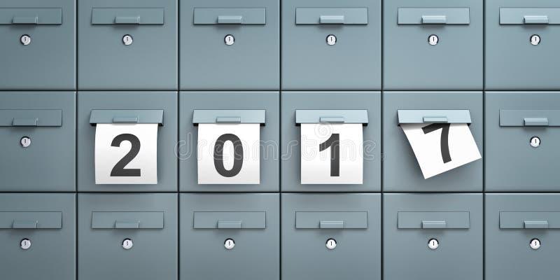 Почтовые ящики с листами бумаги с числами 2017 иллюстрация штока