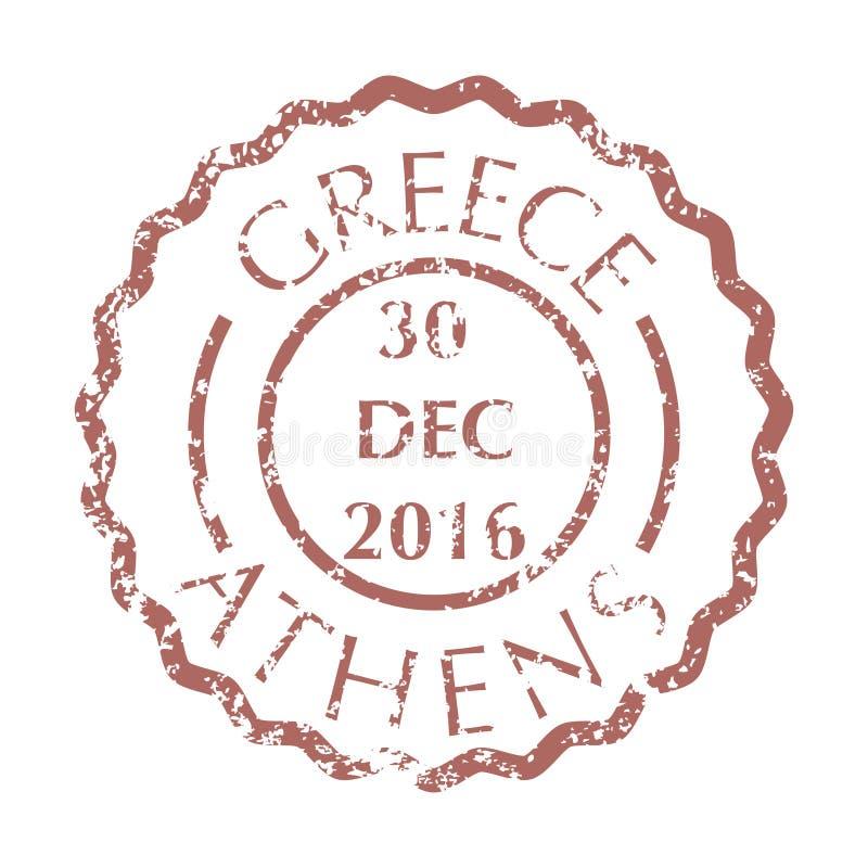 Почтовый штемпель от Афин иллюстрация штока