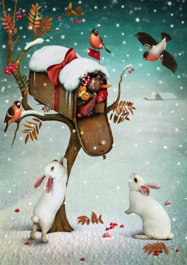 Почтовый ящик в лесе зимы. иллюстрация вектора