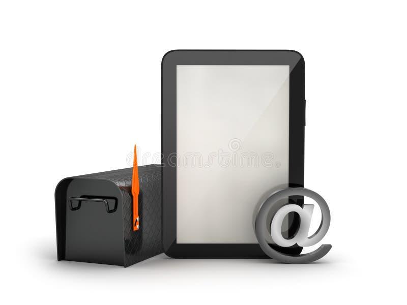 Почтовый ящик и планшет иллюстрация вектора
