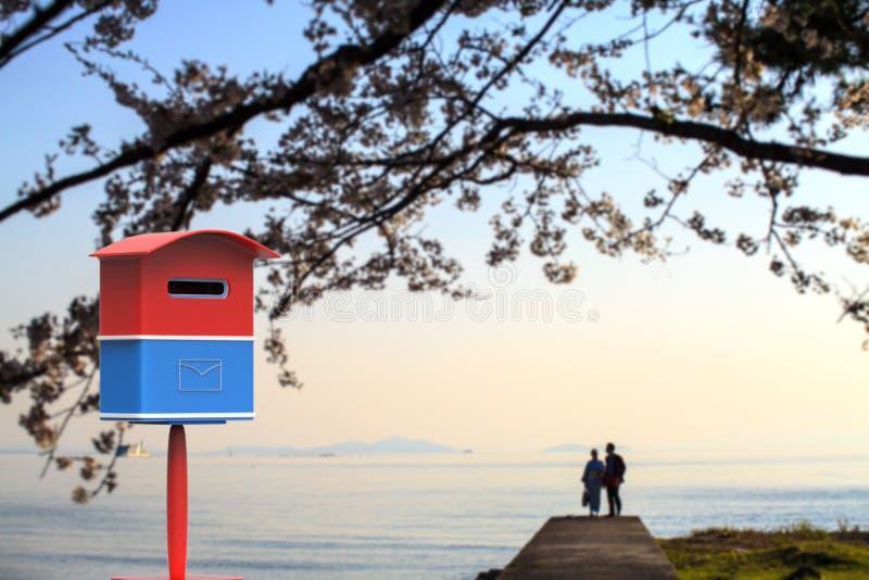 почтовый ящик перевода 3d с славным фоновым изображением стоковые изображения rf