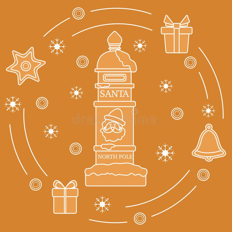 Почтовый ящик Санта, подарки, колокол, пряник, звезда, снежинки Символы Нового Года и рождества Список целей почты бесплатная иллюстрация