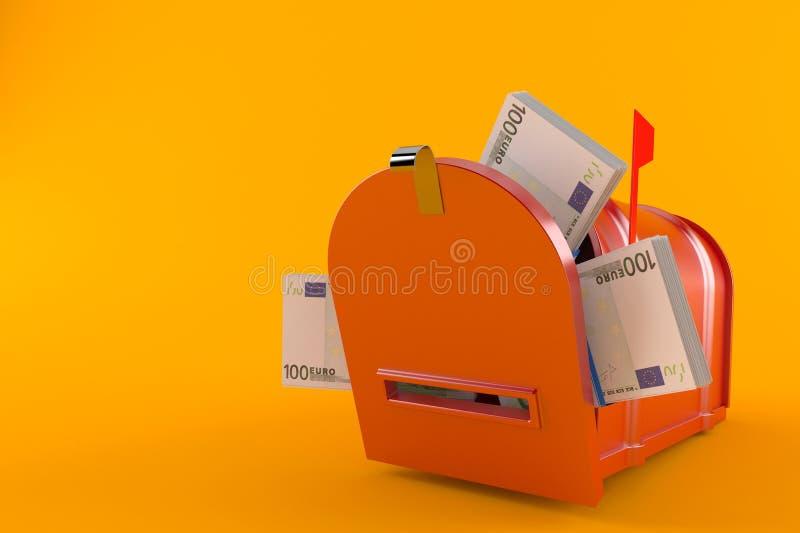 Почтовый ящик с валютой евро иллюстрация штока