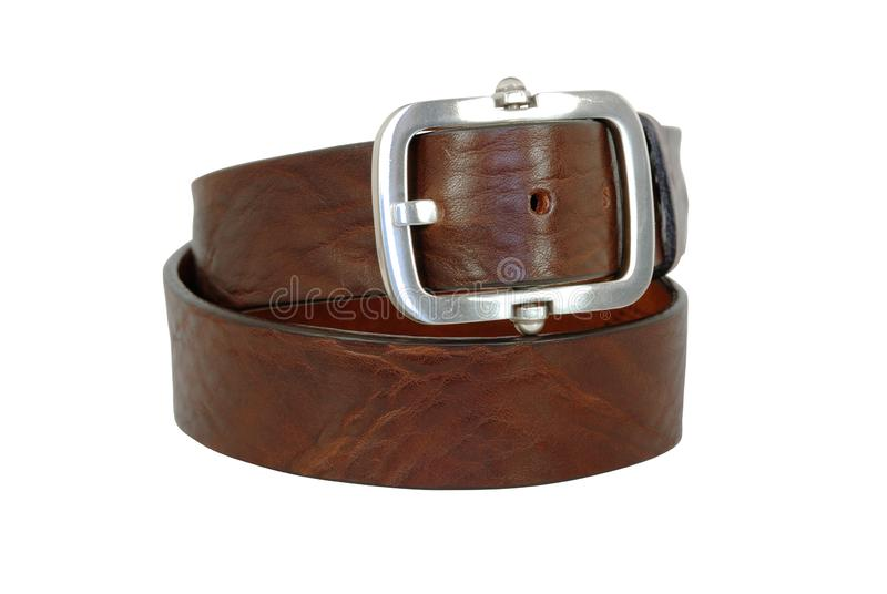 Пояс Брауна кожаный с большой пряжкой на белой предпосылке стоковое изображение
