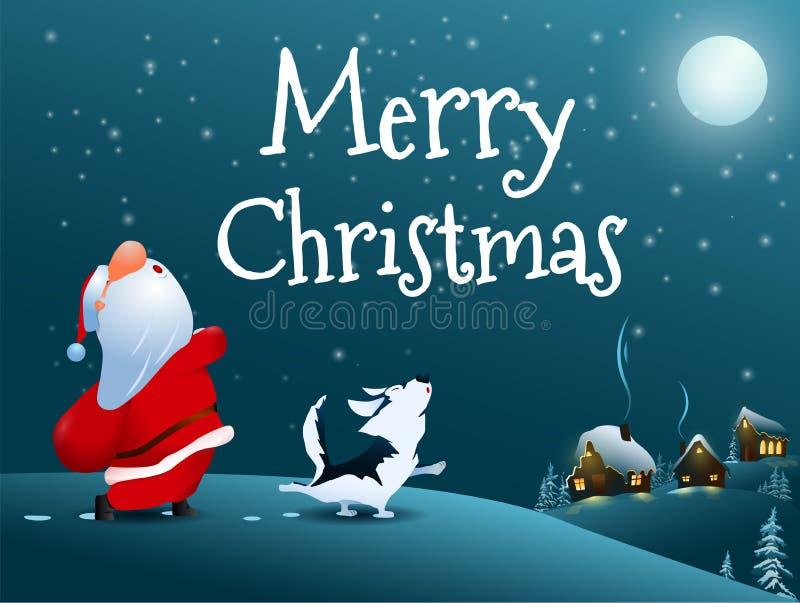 Поя Санта Клаус, собака и снеговик Сцена снега рождества иллюстрация штока