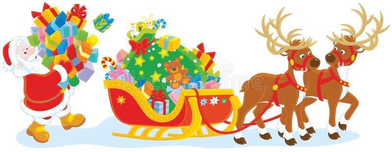 Подарки загрузки Санты иллюстрация штока