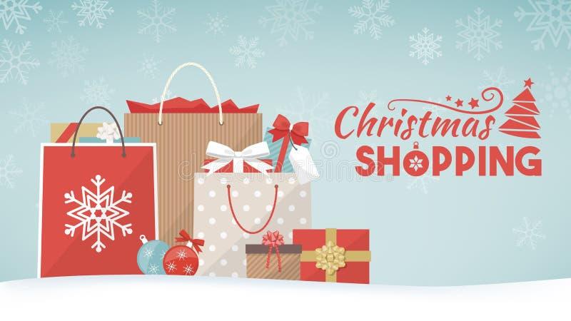 Подарки и хозяйственные сумки рождества иллюстрация штока