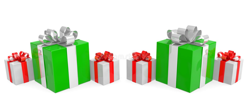 Подарки на рождество аранжированные в ряд, связанный с лентами иллюстрация вектора