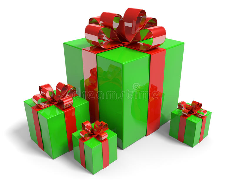 Подарки на рождество в подарочных коробках при сияющие зеленые ленты упаковочной бумаги и красного цвета связанные с смычками бесплатная иллюстрация