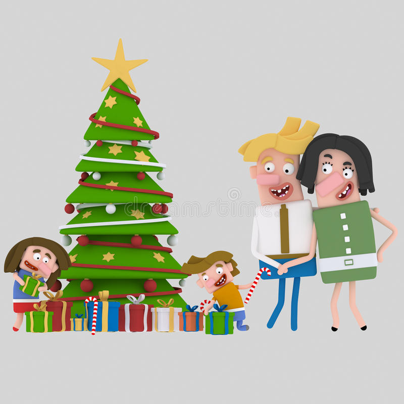 Подарки рождества отверстия семьи 3d стоковое фото