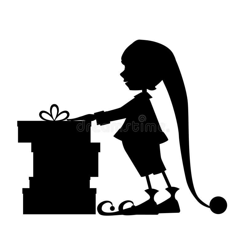 Подарки силуэта и рождества эльфа иллюстрация вектора