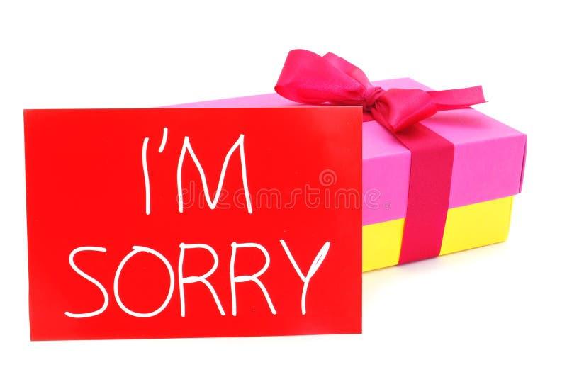 Подарок и карточка с текстом я огорченн стоковое изображение rf