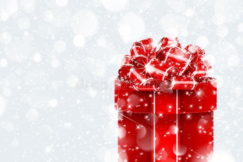 Подарок Кристмас в снежке иллюстрация штока