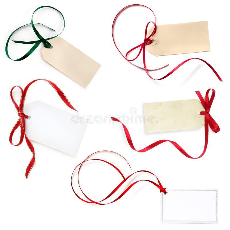 Подарок маркирует собрание изолированное на белизне стоковая фотография