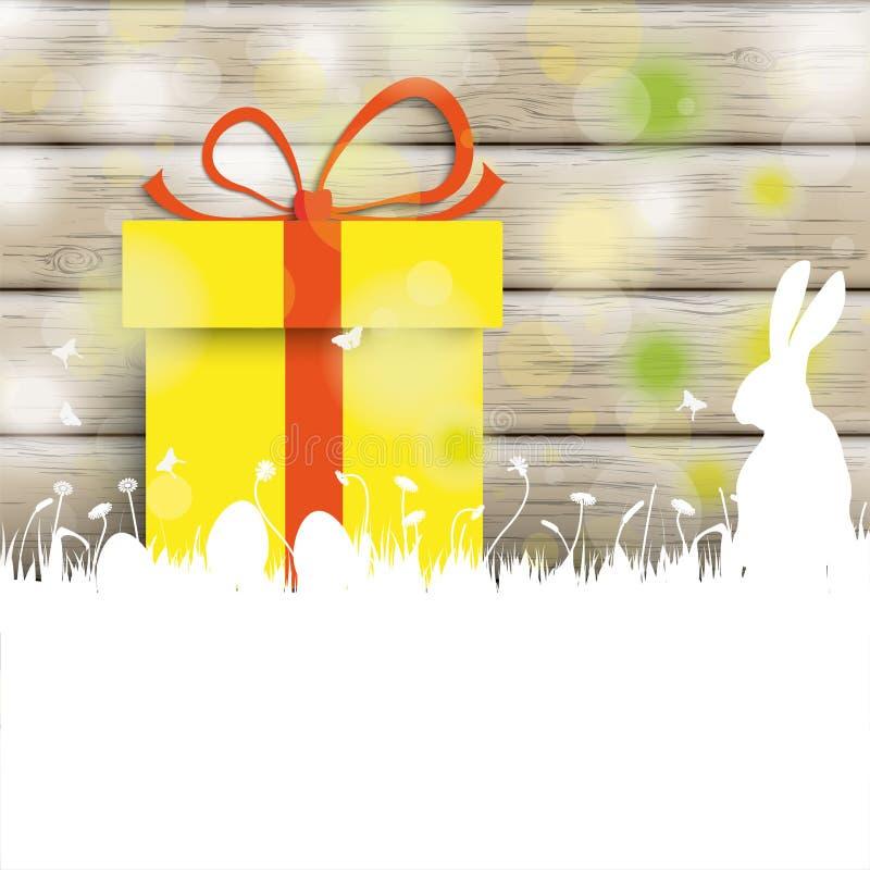 Подарок древесины кролика карточки пасхи бесплатная иллюстрация