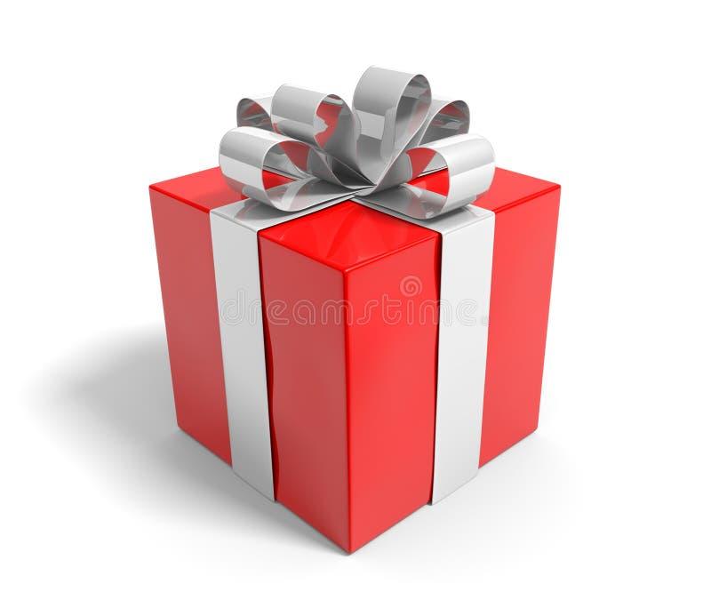 Подарок рождества с красивой серебряной лентой на белой предпосылке бесплатная иллюстрация