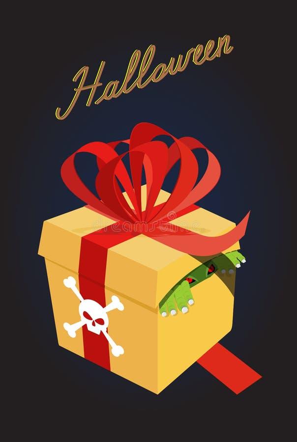 подарок halloween Изверг в коробке страх Ужасный подарок бесплатная иллюстрация