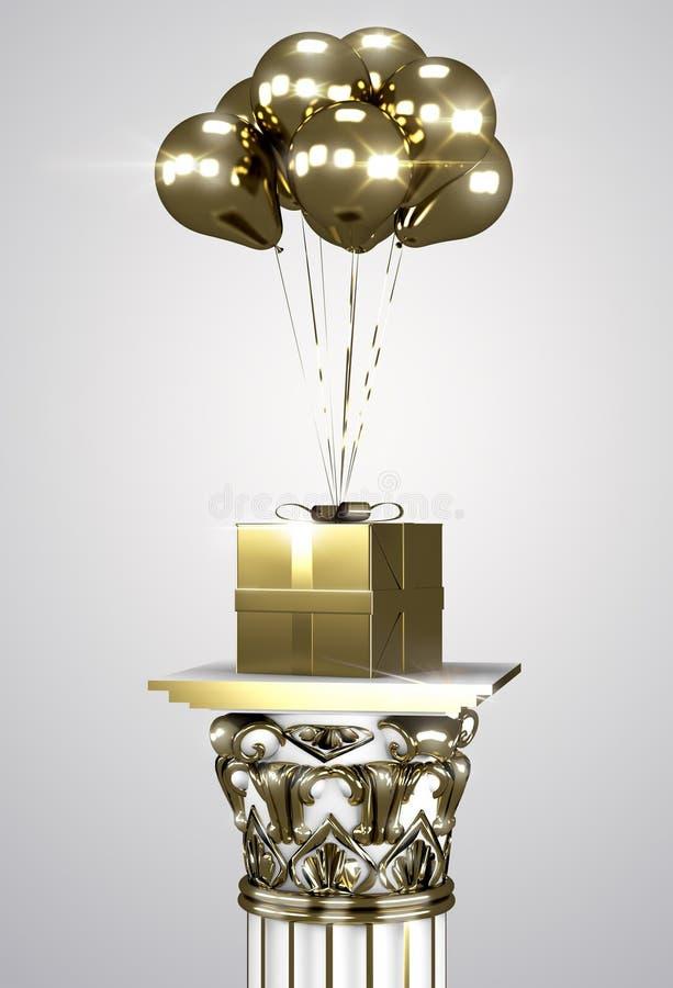Подарочная коробка золота с лентой и воздушными шарами золота стоковые фото