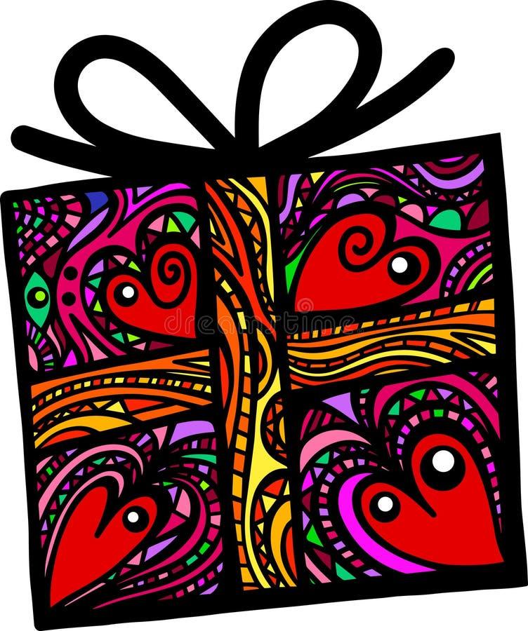 Подарочная коробка народного искусства иллюстрация вектора