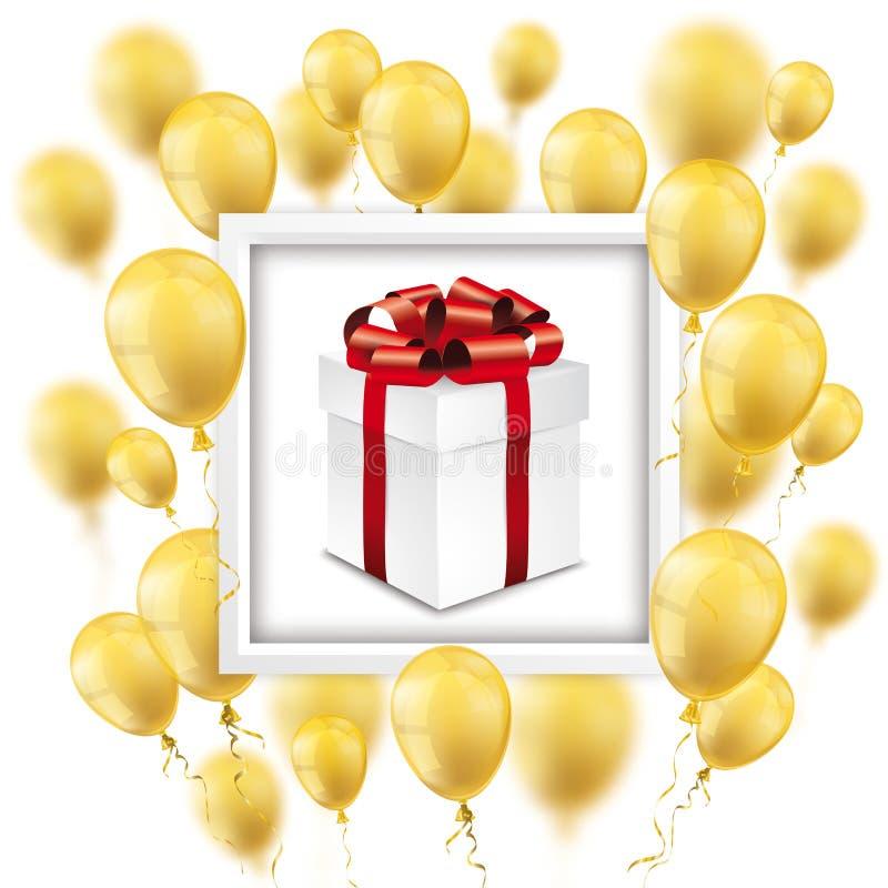Подарочная коробка рамки золотых воздушных шаров белая иллюстрация штока