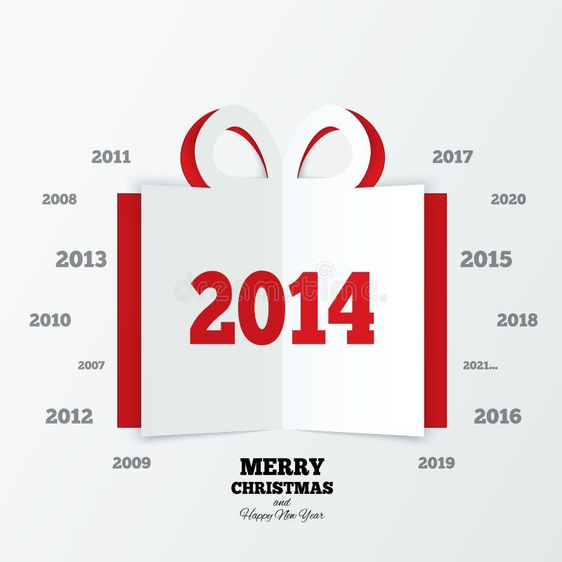 Подарочная коробка рождества отрезала бумагу. Новый Год 2014 иллюстрация штока