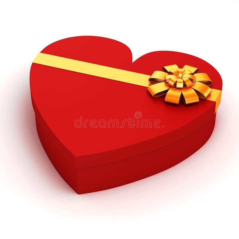 подарочная коробка сердца 3d форменная иллюстрация вектора