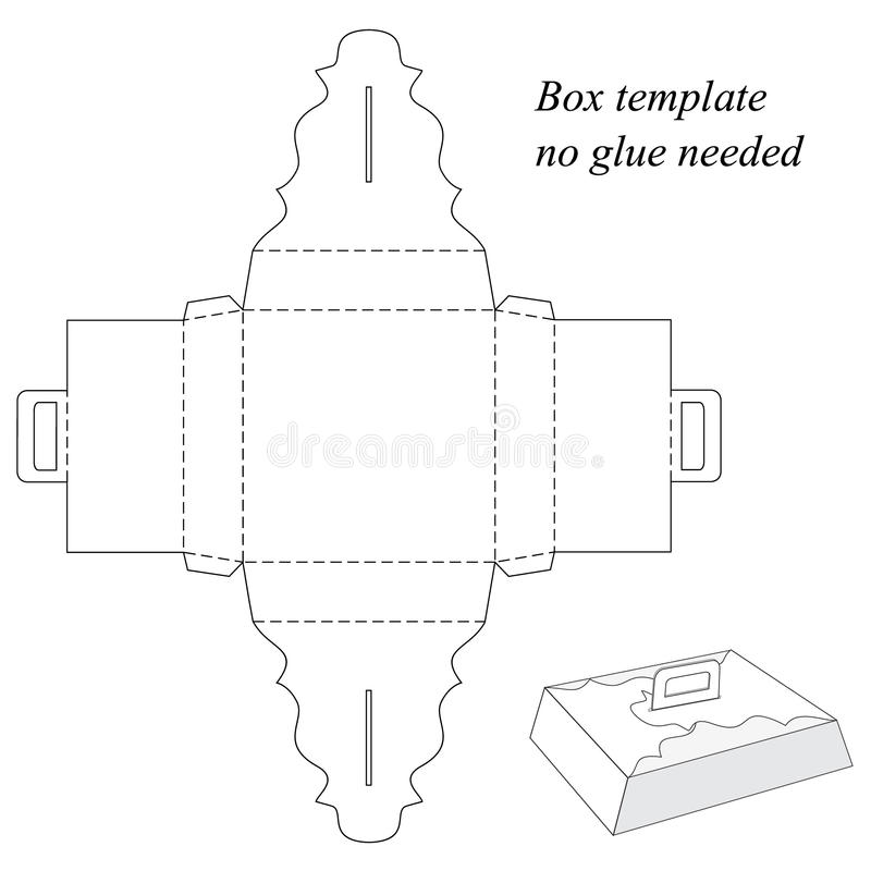 Подарочная коробка с ручкой, без клеить бесплатная иллюстрация
