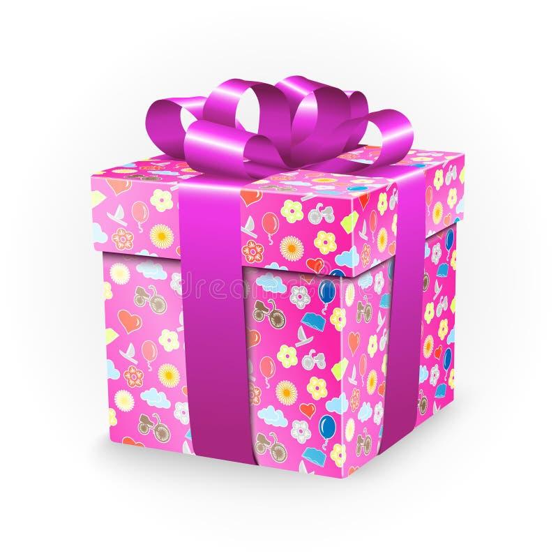 Подарочная коробка с элементами детства: велосипед, цветки, воздушные шары, шлюпка, сердце, солнце, облака и лента обхватывают иллюстрация штока