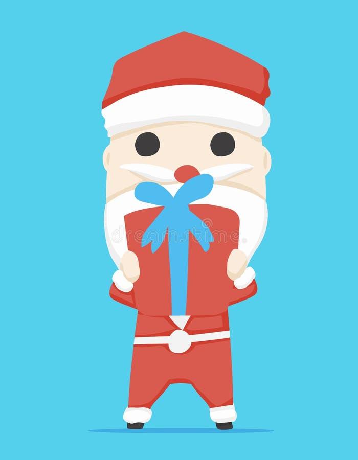 Подарочная коробка характера Санта Клауса и шарж значка, иллюстрация вектора стоковое изображение rf