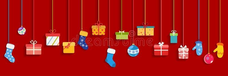 Подарочные коробки смертной казни через повешение, носки, mittens и шарики рождества бесплатная иллюстрация