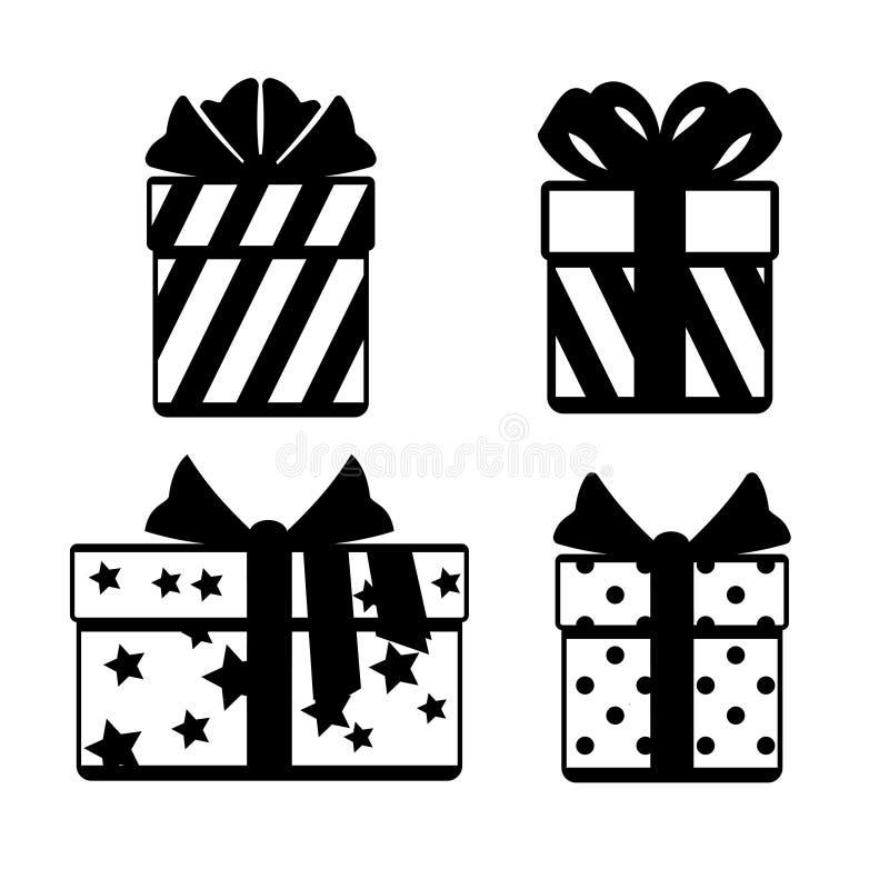 Подарочные коробки с значками смычков ленты установили изолированный над белизной бесплатная иллюстрация