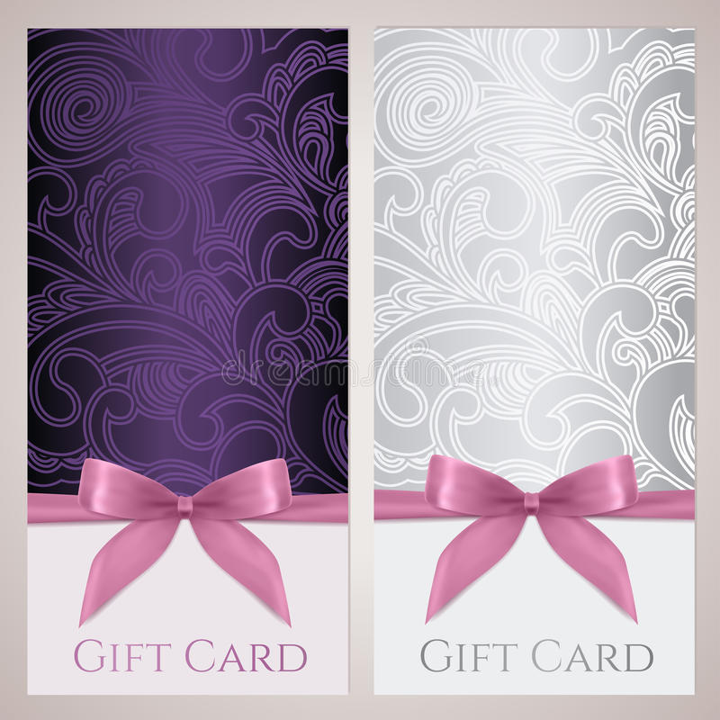 Подарочный купон, карточка подарка, шаблон талона иллюстрация штока