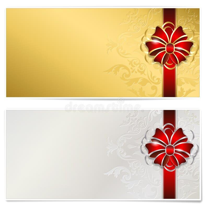 Подарочный сертификат золота и серебра иллюстрация штока